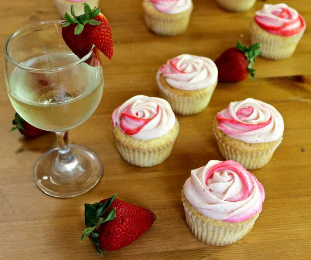 Moscato cupcakes with strawberry frosting
