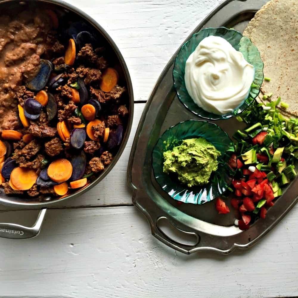 Purple Potato Chorizo Burrito is low carb, high fiber, gluten free ...